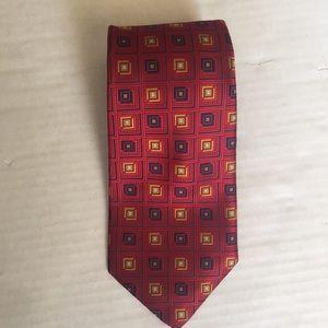 Robert Talbott studio red geometric design tie